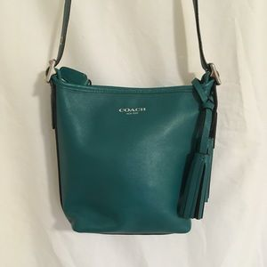 Coach green leather cross body bag